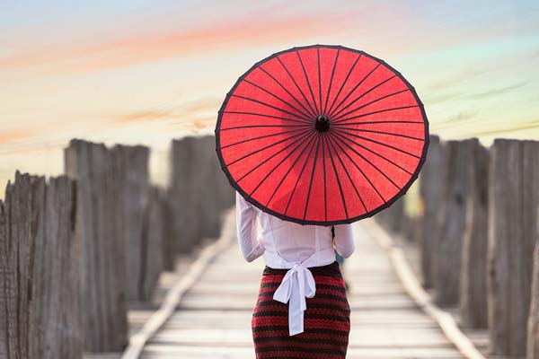 Myanmar girl with umbrella