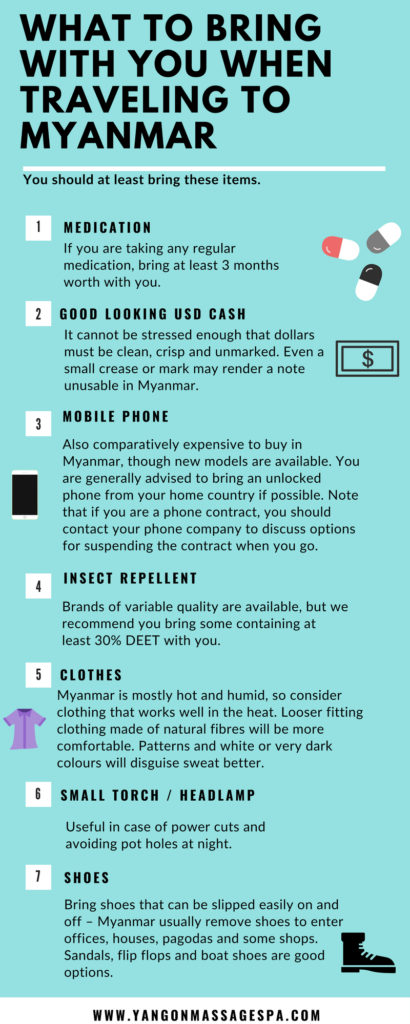 Things to bring with you when traveling to Myanmar